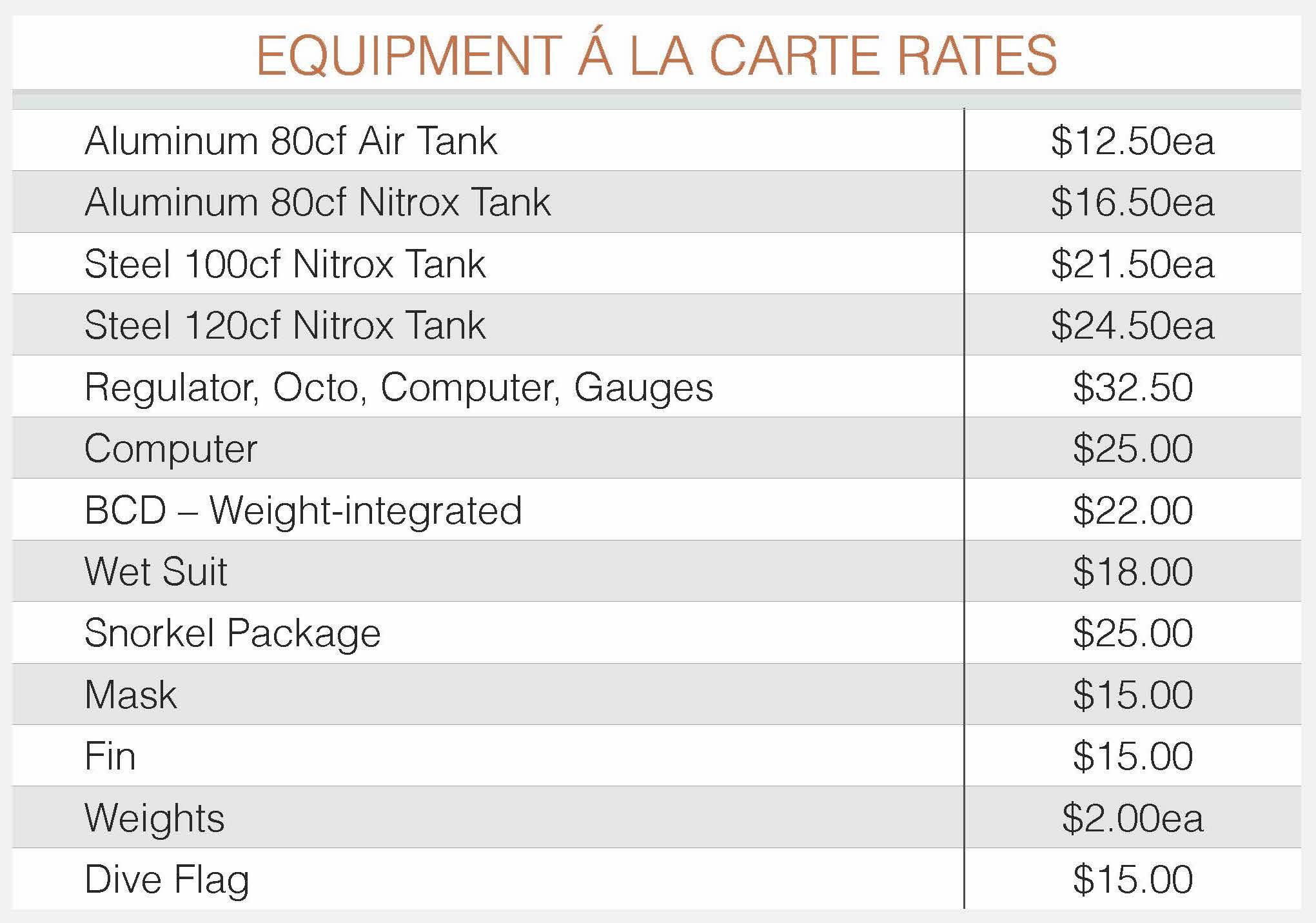 JDC A La Carte Pricing Table